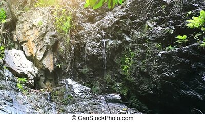 Waterfall in deep jungle forest on Koh Samui HD 1920x1080 -...