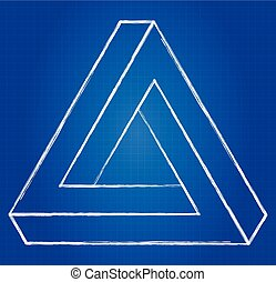 Impossible Triangle Optical Illusion Blueprint