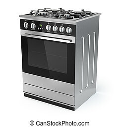 Stainless steel gas cooker with oven isolated on white 3d