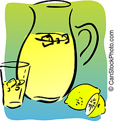 Lemonade and lemons, retro hand-drawn style Lemon and lemon...