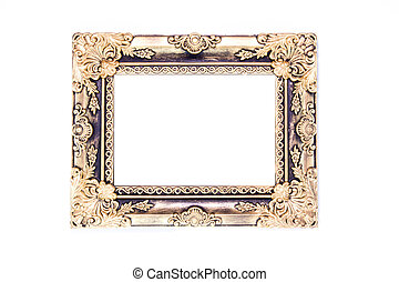 Antiques wooden frame isolated on white background