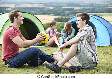 Group Of Young Friends Camping In the Countryside
