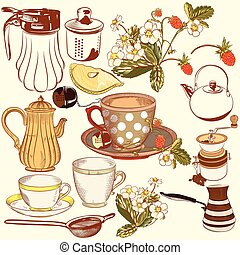 Collection of vector hand drawn tea - Vector set of hand...