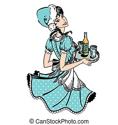 Vector illustration of waitress in blue dotted dress in...
