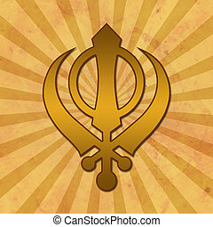 Sikh Symbol Grunge Background - Sikh religious symbol on a...