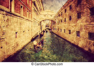 Venice, Italy Bridge of Sighs and gondola Vintage art, retro...