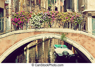 Venice, Italy. A bridge over Grand Canal. Vintage