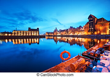 Gdansk, Poland old town, Motlawa river and famous crane,...