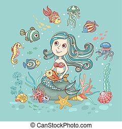 Children illustration with mermaid on green - Children...