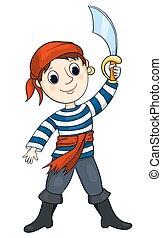 Pirat boy - The cute boy in a costume of the pirate....