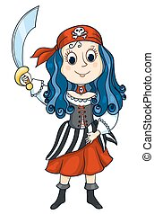 Pirat girl - The cute girl in a costume of the pirate....