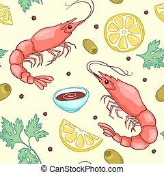 Seamless, patrón, con, camarones, amarillo,
