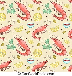 Seamless pattern with shrimps. Vector cute cartoon...