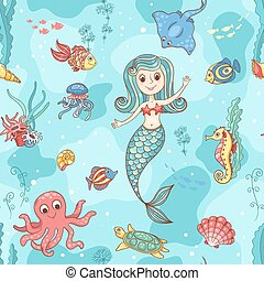 Seamless pattern with mermaid Vector cartoon illustration