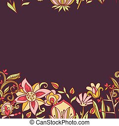 Seamless border texture with flowers