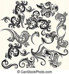 Collection of vector swirls for des - Vector set of swirl...