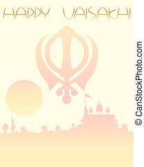gurdwara greeting - an illustration of a festive vaisakhi...