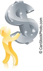 Dollar sign money man - An illustration of a gold person...