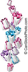 Falling gifts design of lots of nicely wrapped gifts or...