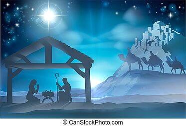 Nativity Christmas Scene - Religious Nativity Christian...
