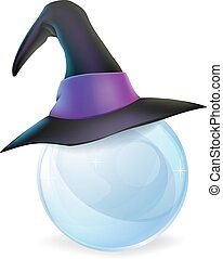 Crystal Ball and Witches Hat - A cartoon witch hat on a...