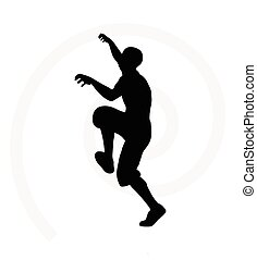 illustration of senior climber man silhouette isolated on...