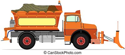 Snowplow - Cartoon snowplow without gradients Vector