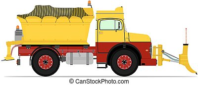 Snowplow - Cartoon snowplow without gradients. Vector.