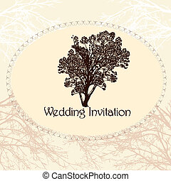 Wedding invitation in vintage style with tree - Greeting...