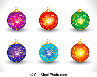 abstract artistic colorful multiple christmas ball vector...