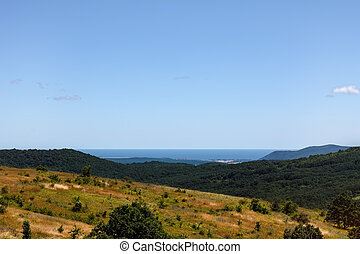 Bulgarian Landscape With Mountains And Sea On The Horizon