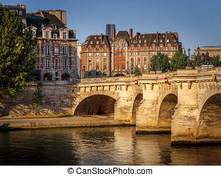 Morning light over the River Seine, Pont Neuf and Ile de la...