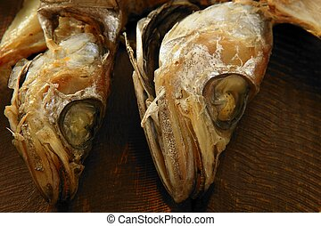 dried hake fish over wood - Dried salted hake fish,...
