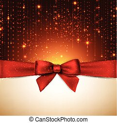 Christmas background with red bow. - Winter background with...