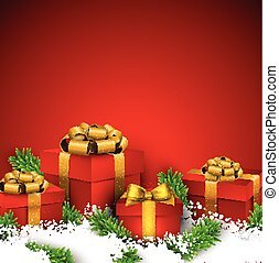 Red christmas background with gift boxes.