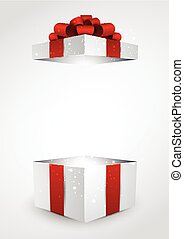 Gift box with red bow. - Opened 3d realistic gift box with...