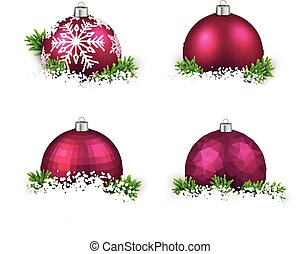 Set of realistic magenta christmas balls - Colorful set of...