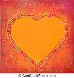painted heart background - acrylic heart painting, artwork;...