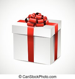 Realistic 3d gift box. - 3d gift box with red bow. Realistic...