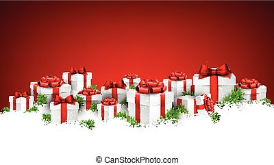 Christmas red background with gift boxes.