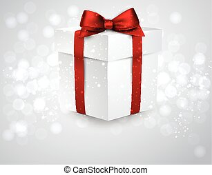 Gift box with red bow. - 3d realistic gift box with red bow....
