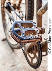 Old bicycle's pedal - Closeup view of old bicycle's pedal