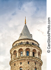 The Galata Tower, ancient building in Beyoglu, Istanbul -...