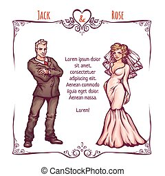Vector illustration of elegant wedding invintantion with bride and groom