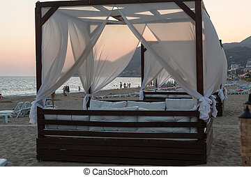 Alanya - The four-poster bed in the evening-scenery on the...