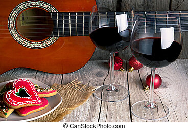 christmas gingerbread guitar and Wine romantic new year...