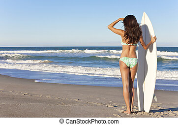 Beautiful Woman Surfer In Bikini With Surfboard At Beach -...