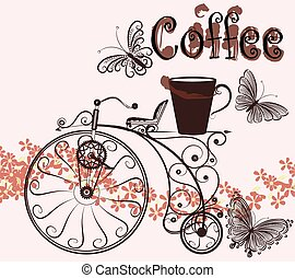 Coffee background with swirl old-fa - Cute vector...