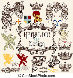 Collection of vector heraldic elements for design - Vector...