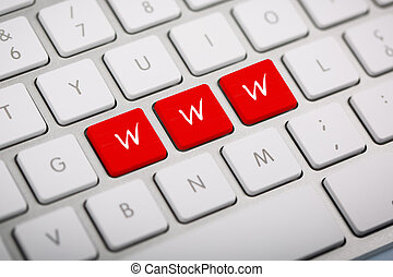 The word quot;WWWquot; written on keyboard - The word WWW...